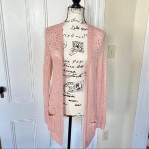 Pink Sparkly Open Knit Cardigan